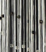 Шторы нити Радуга со стеклярусом Белый+Черный
