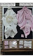 Набор вязанный для крещения девочки с цветочками