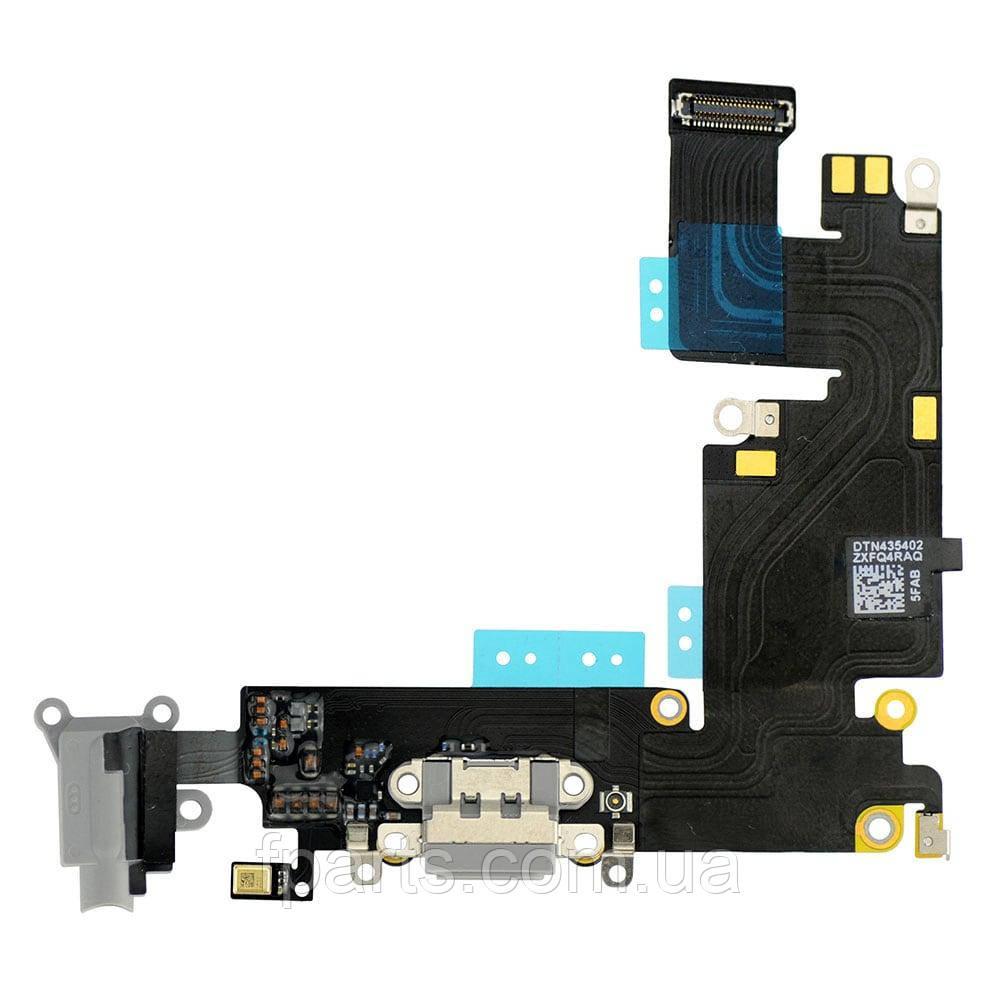 Шлейф iPhone 6 Plus коннектор зарядки, микрофон (Grey)