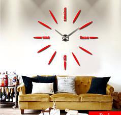 """Часы настенные зеркальные красные диаметр от 80см до 1метр20см """"цифры по английски 3D часы большие"""""""