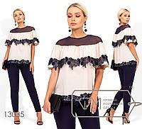 Летний брючный костюм: блуза с двустороней кокеткой и кружевной отделкой, брюки зауженные, на резинке (не тянутся) 13035