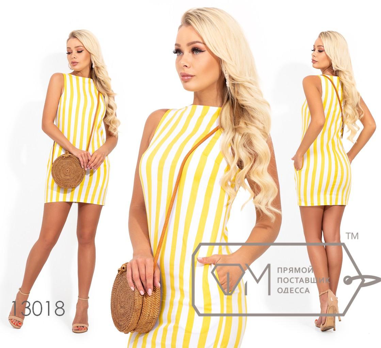 Коттоновое платье-мини в полоску с боковыми карманами (без застежки) 13018