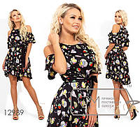 Черное шелковое платье: с двусторонней кокеткой-оборкой, съемным поясом и асимметричным подолом 12989