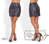 Кожанная юбка-мини с леопардовым принтом и молнией спереди по всей длине (края не обработаны) 13011