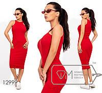 """Длинное платье из рибаны с вырезом """"упряжка"""" 12999"""