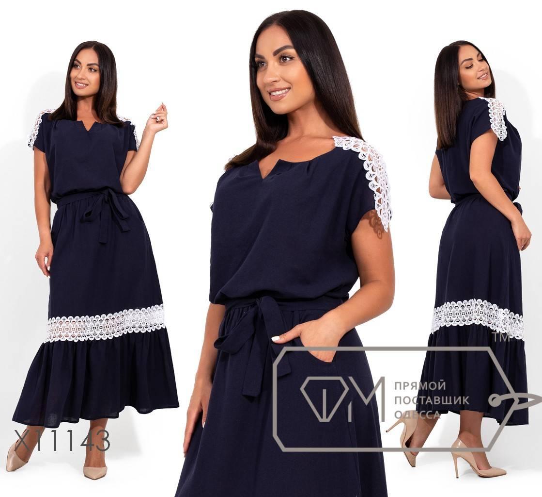 Платье-макси из льна с резинкой по талии и кружевной отделкой по плечам и юбке X11143
