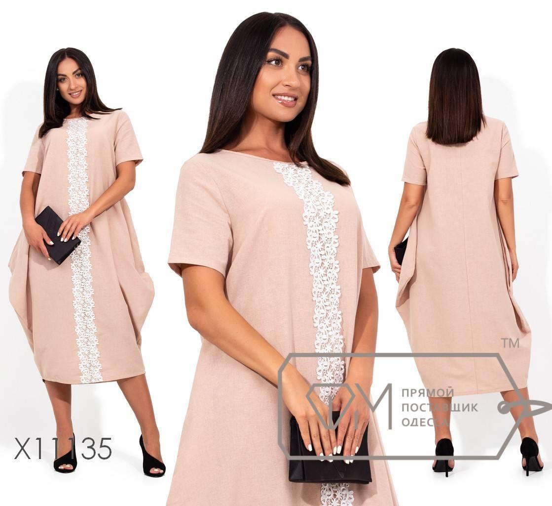 Длинное платье-бохо из льна с круглым вырезом и гипюровой вставкой спереди по всей длине X11135