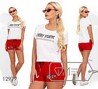 Трикотажный комплект: футболка с накатом, шорты с резинкой и кулиской 12979