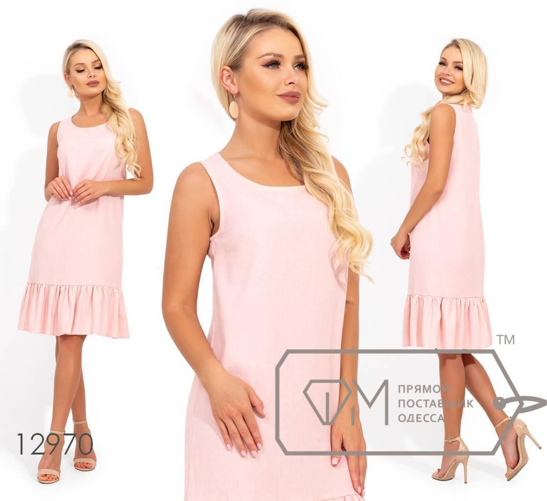 Короткое льняное платье с круглым вырезом и оборкой по подолу 12970