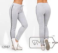 Трикотажные спортивные брюки с лампасами и манжетами 12987