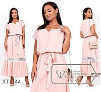 Платье-макси из льна с резинкой по талии и кружевной отделкой по плечам и юбке X11144
