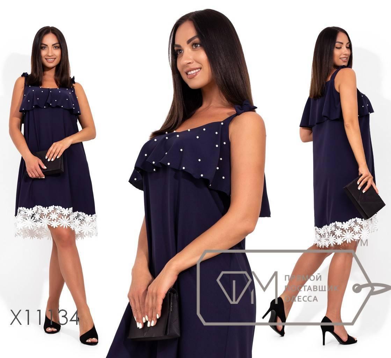 Платье-мини из креп шелка на бретелях с оборкой по груди декорированой жемчужинами и кружевной отделкой по подолу X11134