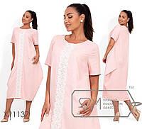 Длинное платье-бохо из льна с круглым вырезом и гипюровой вставкой спереди по всей длине X11137