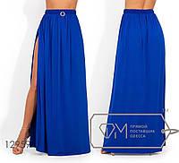 Яркая юбка-макси из микромасла с высоким разрезом, на резинке 12959