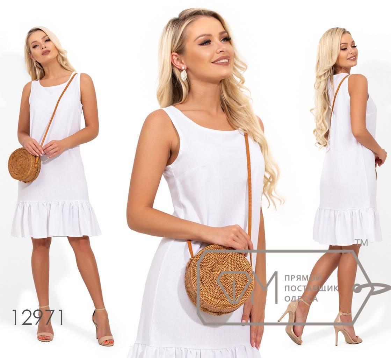 Короткое льняное платье с круглым вырезом и оборкой по подолу 12971