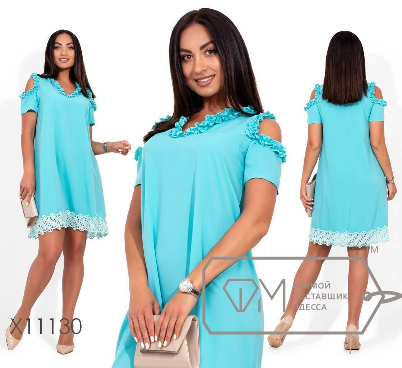 Платье-мини из креп шелка с сборкой по горловине и рукавам, подол с отделкой из кружева X11130
