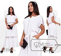 Платье-макси из льна с резинкой по талии и кружевной отделкой по плечам и юбке X11145