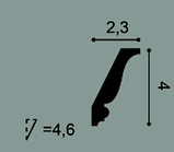 Карниз потолочный гладкий Orac Decor Axxent CX151 4,3 x 2,3 x200 см лепной декор из дюрополимера, фото 2