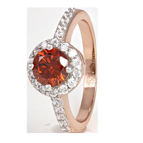"""Серебряное кольцо с имитацией граната """"437"""""""