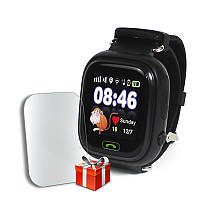 Детские смарт-часы JETIX Q90 Black с GPS трекером и телефоном + Защитное стекло