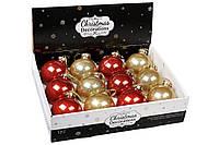 Елочный шар 8см, набор шаров, цвет - красный и золото с глитером внутри (12 шт)