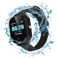 Детские водонепроницаемые смарт-часы с GPS JETIX DF50 Ellipse Aqua (Black)