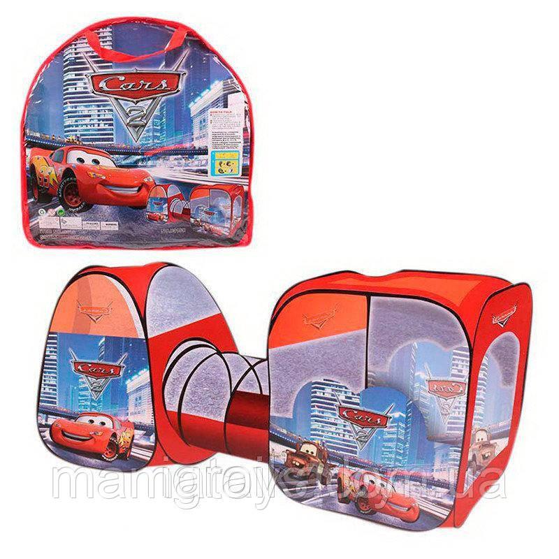Дитячий Намет з тунелем Машинки 8015 C Тачки розмір 270 х92 х92 см, в сумці