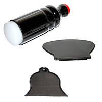 Набор для стемпинга черный (печать двухсторонняя/два скрепера)