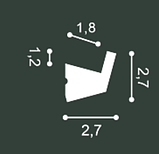 Карниз потолочный гладкий Orac Decor Axxent CX189 2,7 x 2,7 x200 см лепной декор из дюрополимера, фото 2