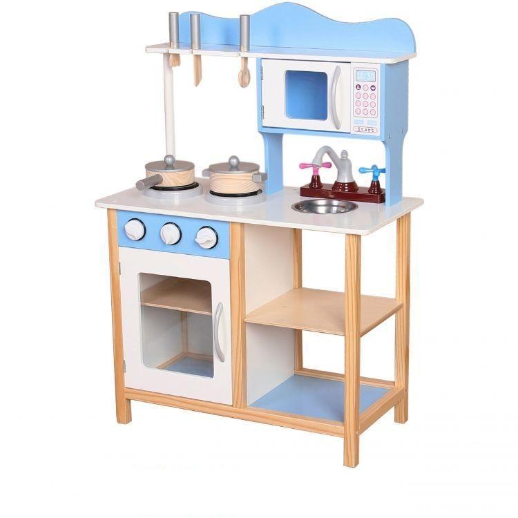 Дитяча дерев'яна кухня EcoToys TK040 + 7 аксесуарів (8099)