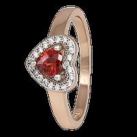 """Позолоченное кольцо с имитацией граната """"474"""""""
