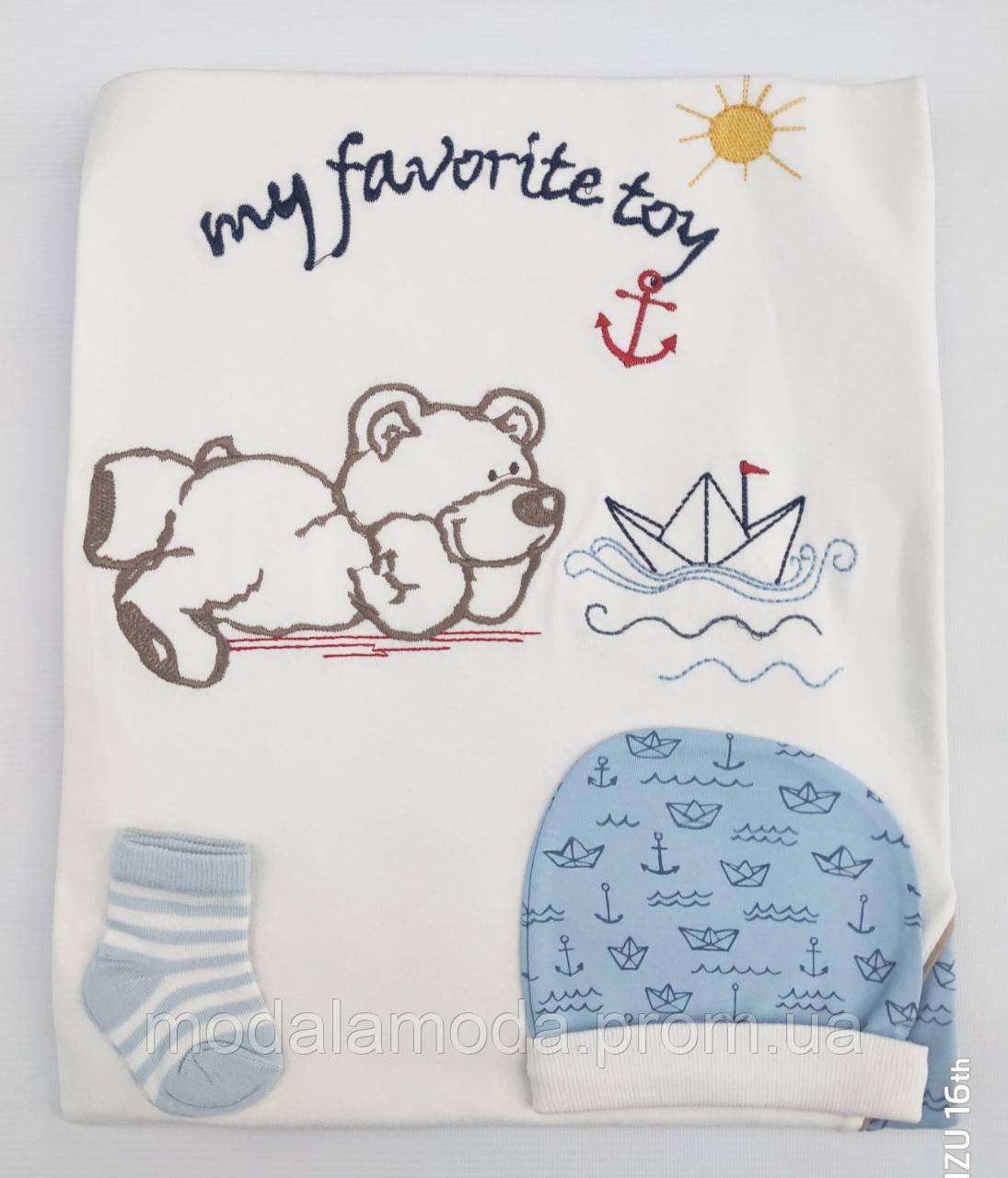 Крыжма для крещения детей с шапочкой и пинетками в полоску Морячок