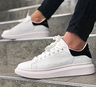 Мужские кроссовки Adidas Alexander McQueen Oversized Leather white black. Живое фото (Реплика ААА+)