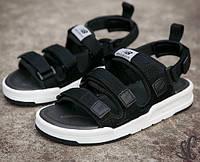 Мужские сандалии New Balance Sandals летние босоножки черные с белым 36-44р.. Живое фото (Реплика ААА+)