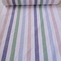 Лён полотенечный с разноцветными полосками на белом фоне, ширина 50 см