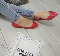 Балетки жіночі низькі лаковані червоні, фото 1