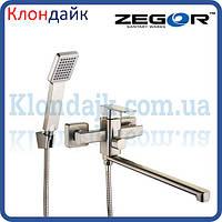 Смеситель для ванны длинный Zegor LEB7-A-KH WKB123 (нержавейка)