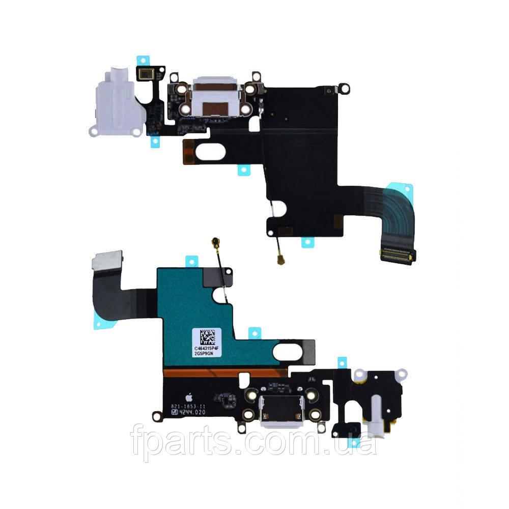 Шлейф iPhone 6 коннектор зарядки, микрофон, White (Original PRC)