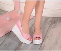 Туфли ярко розовые натуральная кожа на танкетке 40 размер код 19676