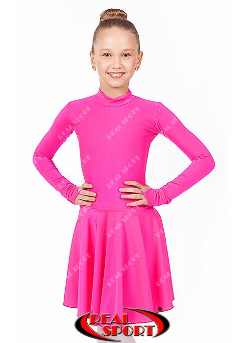 Платье для танцев бейсик малиновый RS 849 (бифлекс, р-р 64-84, рост 122-164 см)