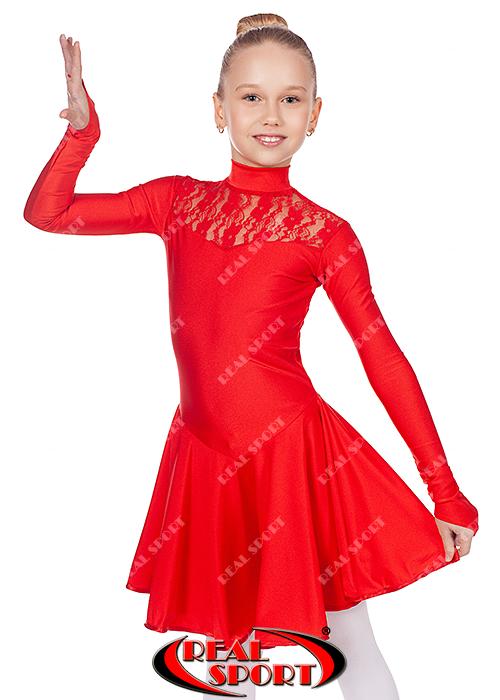Рейтинговое платье бейсик красный RS 1494 (бифлекс, р-р 64-80, рост 122-158 см)