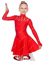Платье рейтинговое для танцев, бейсик красный RS 1494 (бифлекс, р-р 64-80, рост 122-158 см)