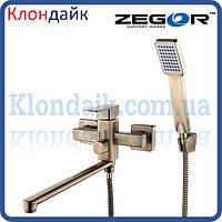Смеситель для ванны длинный Zegor LEB7-A-KT WKB123 (бронза)