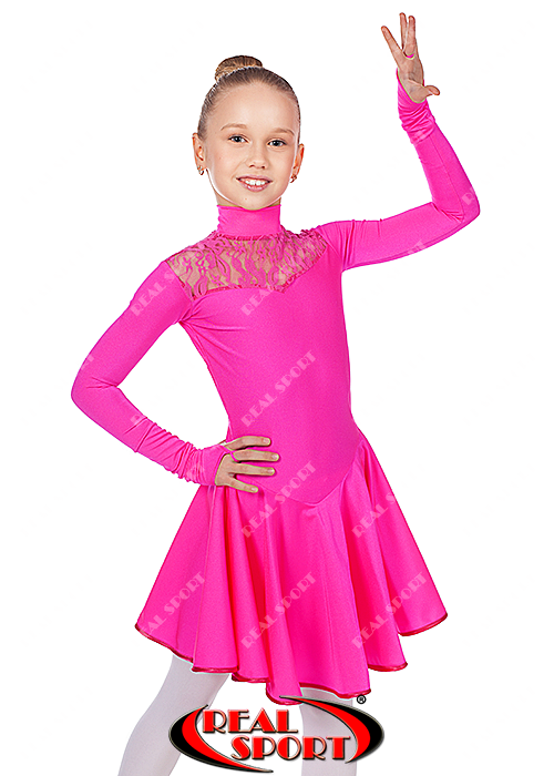 Платье рейтинговое для танцев, бейсик малиновый RS 1494 (бифлекс, р-р 64-80, рост 122-158 см)