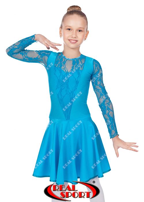 Платье рейтинговое для танцев, бейсик бирюзовый RS 1642 (бифлекс, р-р 64-80, рост 122-158 см)