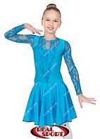 Платье рейтинговое для танцев, бейсик бирюзовый RS 1642 (бифлекс, р-р 64-80, рост 122-158 см), фото 1
