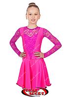 Платье рейтинговое для танцев, бейсик малиновый RS 1642 (бифлекс, р-р 64-80, рост 122-158 см)