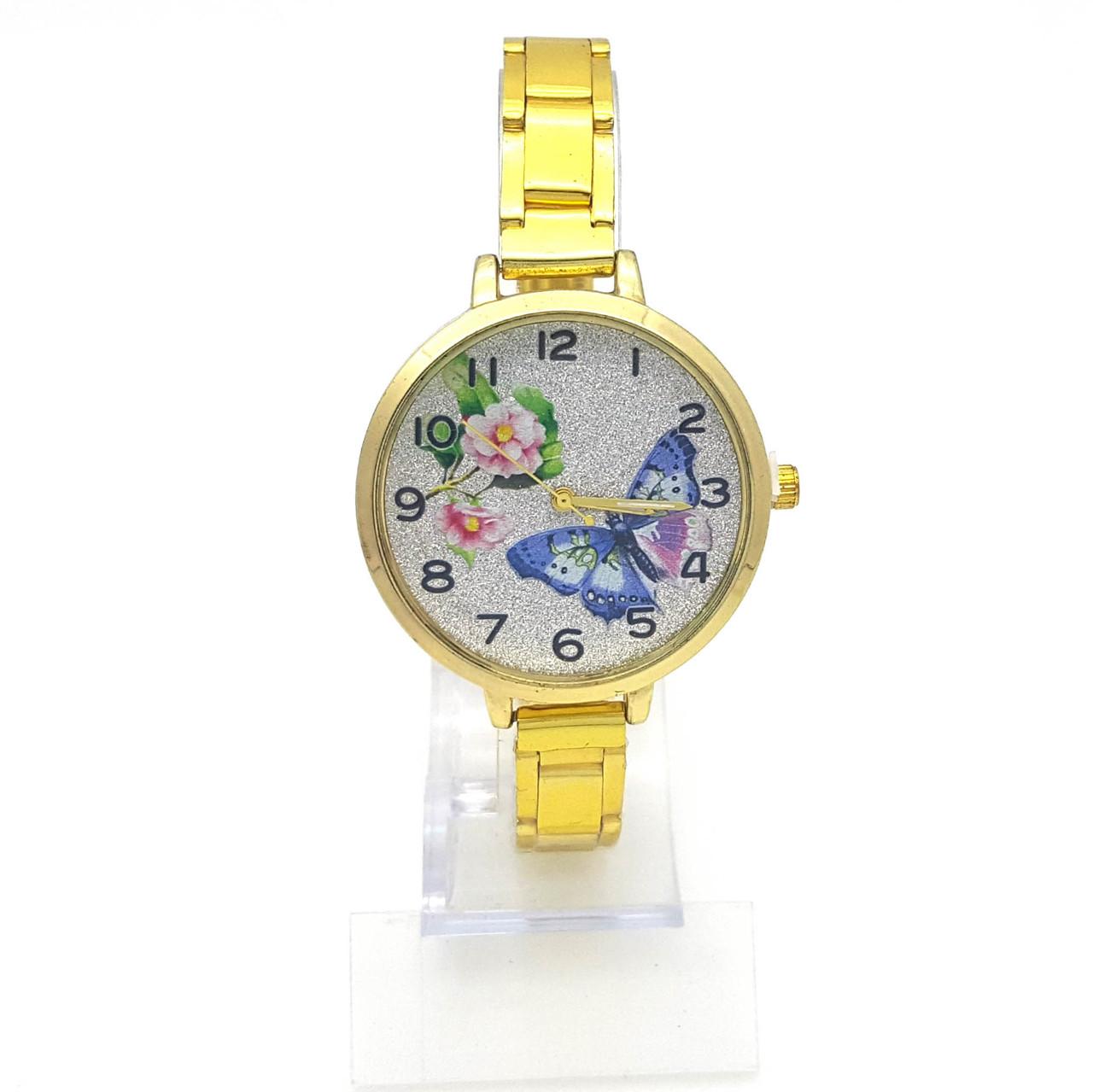 Часы на золотистом браслете с блестками, с Бабочками, р.20, циферблат 36мм