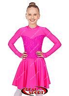 Платье рейтинговое для танцев, бейсик малиновый RS 1167 (бифлекс, р-р 64-76, рост 122-152см)