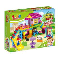 Конструктор JDLT 5401 крупные детали для малышей серия Город - игровая площадка, 93дет. (аналог лего дупло)